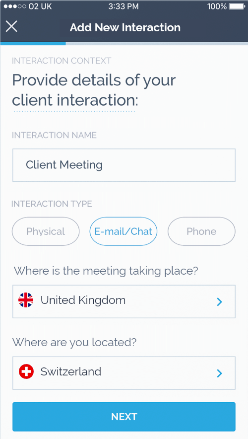 Screenshot of Apiax Client Advisory App showing client interaction planning